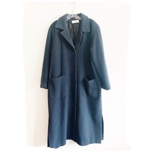 Vtg Sandro Russia Navy Blue Wool Trench Coat 18